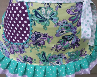 Womens Aprons - Purple Aprons - Lavender Aprons - Purple Haze Aprons - Retro Aprons - Hostess Aprons - Purple Flowered Aprons - Etsy Aprons