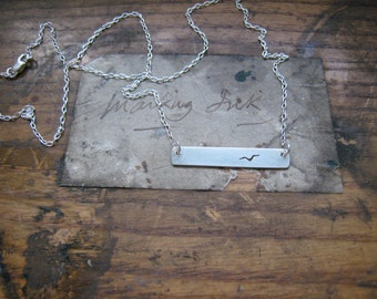 landscape view, one flying bird necklace, sterling silver