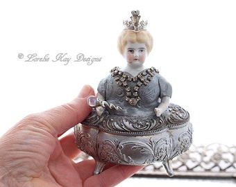 The Queen's Jewels Doll Jewelry Box Frozen Charlotte One-of-a-Kind Miniature Frozen Charlotte Ring Box Jewelry Casket