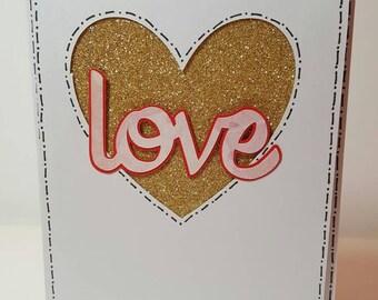 Gold Love Heart Card