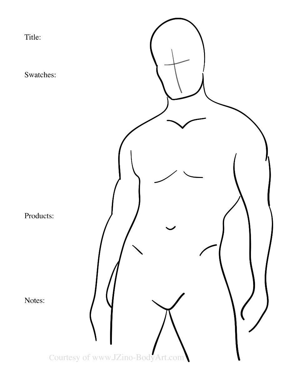 7 männlichen Körper malen Charts Körper Vorlagen für