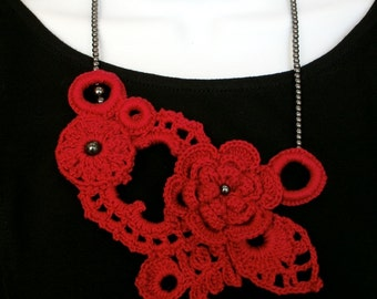 Red crocheted necklace