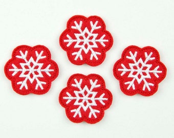 SNOWFLAKE - Embroidered Felt Embellishments / Appliques - Red & White  (Qnty of 4) SCF4065