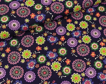 Cotton fabric flowers on violet (7.50 EUR/meter)