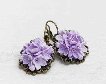 Lilac Earrings Polymer clay Jewelry Flowers earrings Purple Floral earrings Drop earrings Fashion jewelry Boho earrings Boho Jewelry