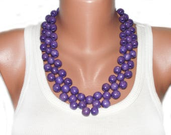 Lilac necklace purple wedding necklace beaded bridesmaid violet necklace Wife gift boho chic necklace lightweight modern necklace