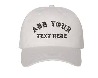 Custom Dad Hat Embroidered Dad Hat,YOUR TEXT HERE Kanye Custom Hat Personalized Baseball Cap,Choose Your Text,Custom Stitching, White