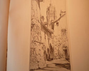 Rodez France - John Taylor Arms etching - fine detail - framable 1930 book plate print in Bibliotheque Nationale Street Scene