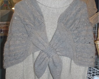 Knit Shawl with Woven Cables Pattern