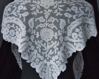 Spectacular Antique Irish Limerick Needle Run Embroidered Net Lace Shawl or Fichu in Ivory