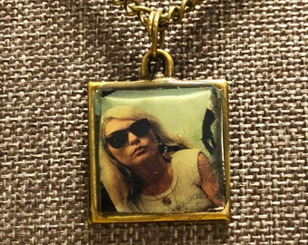 Handmade antiqued brass Debbie Harry pendant