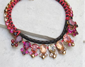 Pink Necklace Leather Necklace for women Boho Leather Necklace leather necklace for women Crystal Necklace Trendy Blush Elegant Statement