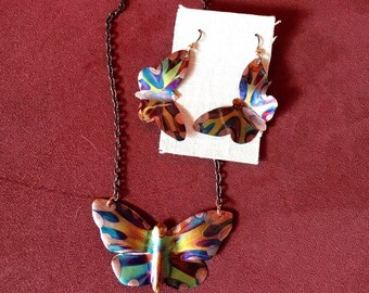 Butterfly Set - Shaped Earrings and Butterfly Pendant on chain -Handcut and Flame Painted Copper