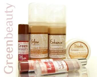 Makeup Gift Set, spa gift set, medium shade, self care kit, natural makeup, skincare gift set, tinted moisturizer foundation blush, lip tint
