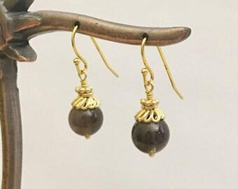 Smoky Quartz Gold Vermeil Earrings, 8 mm Smoky Quartz beads & Gold Vermeil Bali beads with Vermeil ear wire