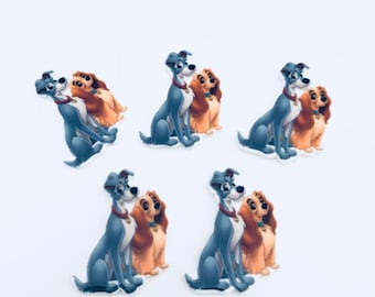 Set of 5 Lady And The Tramp Resins - Flat Back - Dog - Planar