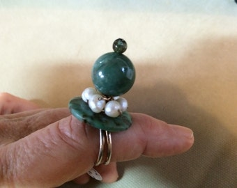 Handmade Sterling Ring Tourmaline Tourquoise Aventurine Pearl Dragqueen by Jeneieve eieve