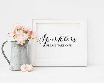 Wedding Sign PRINTABLE 5x7 SPARKLERS Please Take One Print, Wedding Table Sign, Reception sign, Black and White Typography Calligraphy
