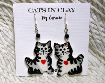 Grey Striped Tabby With Heart Cat Shaped French Wire Earrings Handmade In Kiln Fired Clay by GMS