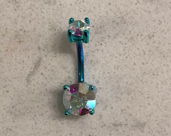 Aurora Borealis Round Shape Double Prong Set Gem Teal Blue Green Belly Button Ring Navel Body Piercing Jewelry
