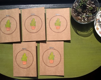 Embroidered Cactus Notecards (Set of 5)