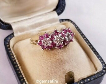 Triple Ruby Flower Cluster Ring in 9ct Yellow Gold