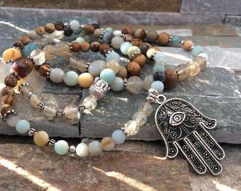 Mala necklace 108 beads of Hamsa Jasper quartz Amazonite