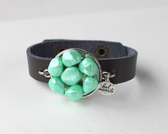 Green Bracelet, Mint Green Jewelry, Snap Bracelet, Leather Cuff, Cuff Bracelet, Vintage Bracelet, Recycled Bracelet, Upcycled, Green Wedding