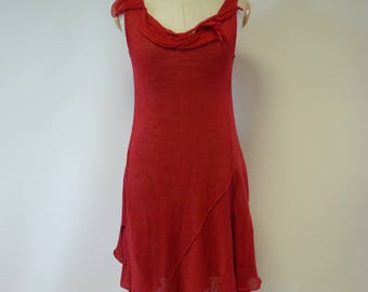Special price. Summer red linen dress, M size.