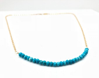 Turquoise Necklace // Sleeping Beauty Turquoise Necklace // Wire Wrapped Turquoise Necklace // Gold Fill