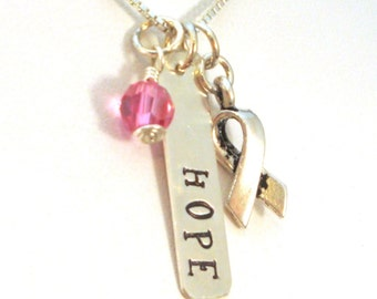 Breast Cancer Gifts | Hope Necklace | Breast Cancer Awareness Jewelry | Breast Cancer Necklace