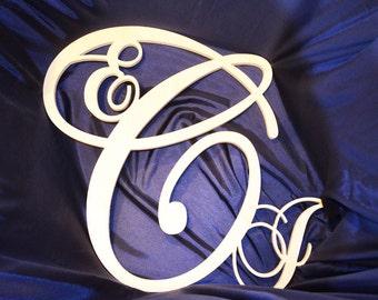 24 inch script fancy connected monogram letter, Wooden wall letter, wedding, unfinished, vine monogram, home decor