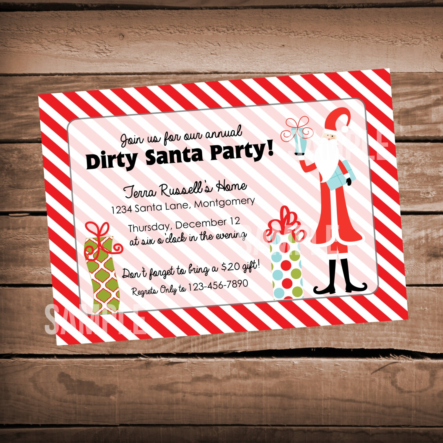 Christmas Party Invitation Open House DIrty Santa Red