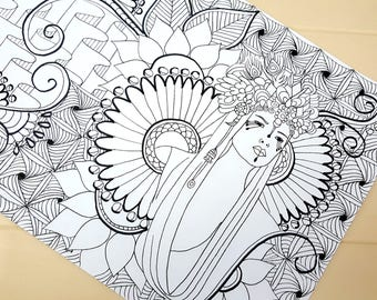 Printable Coloring Page - Adult Colouring Page, Color in, Colour in, jpeg printable, Zentangle -Instant Download only