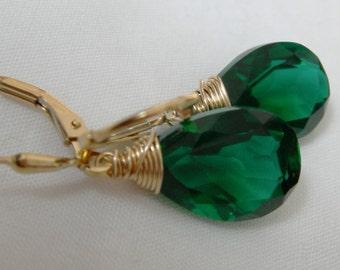 Emerald Green Quartz Sterling Earrings
