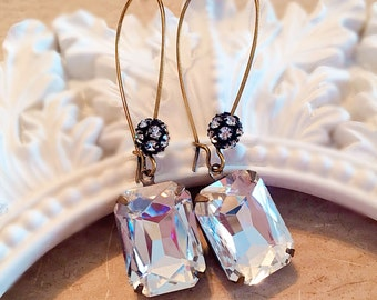 Crystal Holiday Earrings - Art Deco Jewelry - Victorian Jewelry - Crystal Earrings - MADELINE Crystal