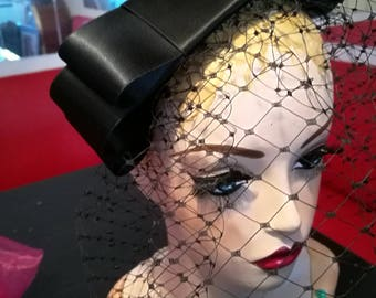 Black Birdcage Veil Black Satin Bow Vintage Inspired Veil Black Fascinator Veil Bow Hairclip