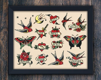 Valentines Day Printable Home Decor, Gift for Mom, Birds, Hearts & Butterflies, Sailor Jerry Large Tattoo PRINTABLE Wall Art (#7769b)