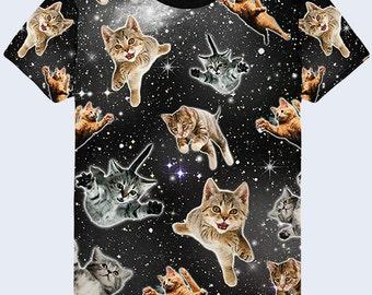 Flying Cats Funny T Shirt, Outer Space Mens Shirt, Cat Shirt, Cute Black Shirt, Galaxy Clothing, Astronomy Gift, Galaxy Top