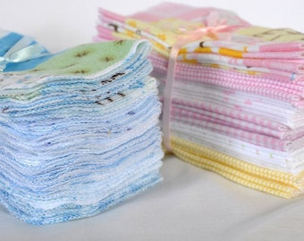 Cloth Baby Wipes Starter Kit. 3 dozen wipes.  Eco friendly reusable wipes.