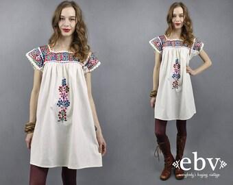 White Mexican Oaxacan Dress Embroidered Dress Festival Dress Hippie Dress Boho Dress 70s Dress 1970s Bohemian Dress Summer Tent Dress S M L