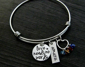 Autism Bracelet / Love Needs No Words / Autism Awareness Bracelet / Austism Mom /  Wire Bangle Bracelet
