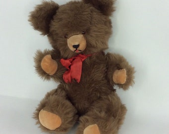 "German Mohair Teddy Bear Large 21"" Vintage 60's Vtg Fuzzy Mohair Sound Box"