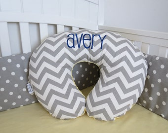 Chevron and Minky Boppy Cover - Boppy Pillow Cover, Nursing Pillow, Pink, Blue, Purple, Yellow, Brown, Black, Red, Gray, Green