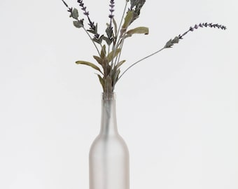Frosted wine bottle with lavender