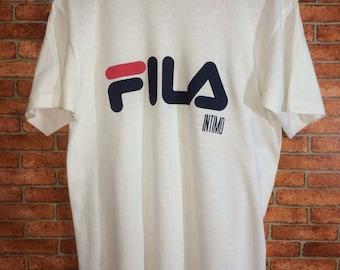 Vintage Fila t-shirt Big Logo Spell out Hip Hop Swag