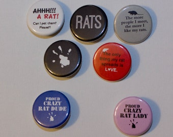 Crazy Rat Lady or Dude Strong Ceramic Magnets or Pinback Buttons: Supports Ottawa Pet Rat Rescue