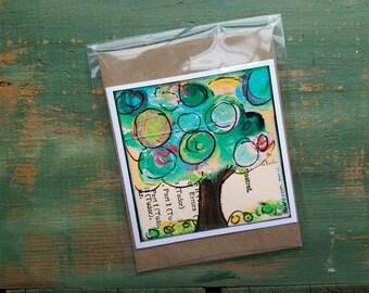 SALE!  Whimsical Tree Card, Tree Art, Mixed Media Art Card, blank card, notecard, greeting card, sale card, clearance card