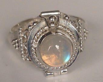 Beautiful Sterling Silver Geniune Rainbow Moonstone Poison Ring, Sterling Silver ring size 6 1/2, size 7 and size 8
