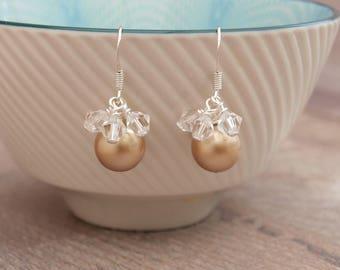 Gold Pearl Bridal Earrings - Pearl and Crystal Bridesmaids Earrings - Bridesmaid Gift - Handmade Wedding Jewellery - Jewellery Made By Me UK